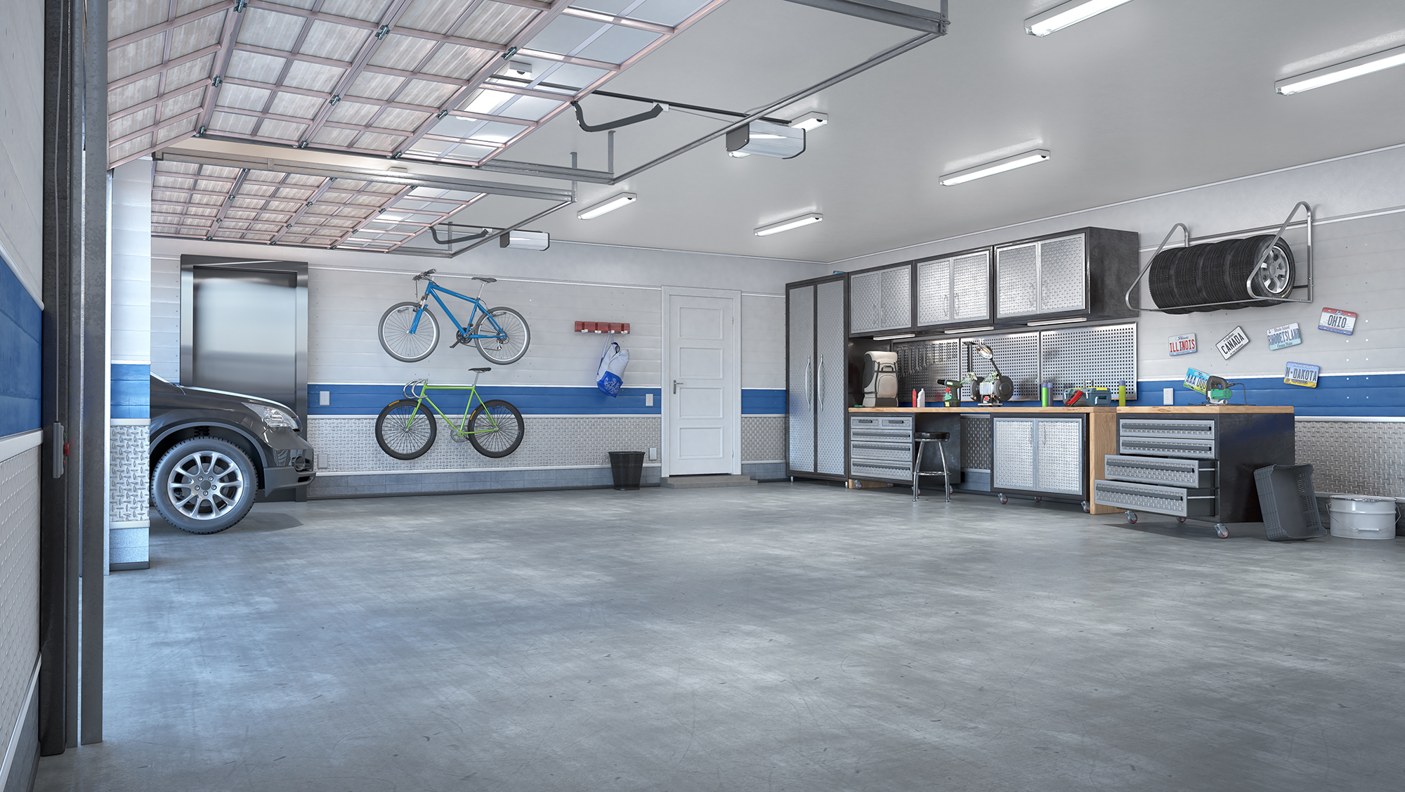 Garage with rolling gate interior. 3d illustration - Northwest Carpet Cleaning - Minneapolis Minnesota